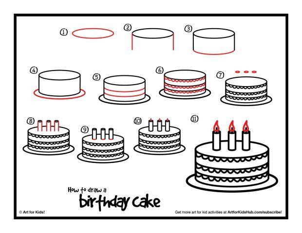How to draw a birthday cake birthday pinterest birthday how to draw a birthday cake sciox Choice Image