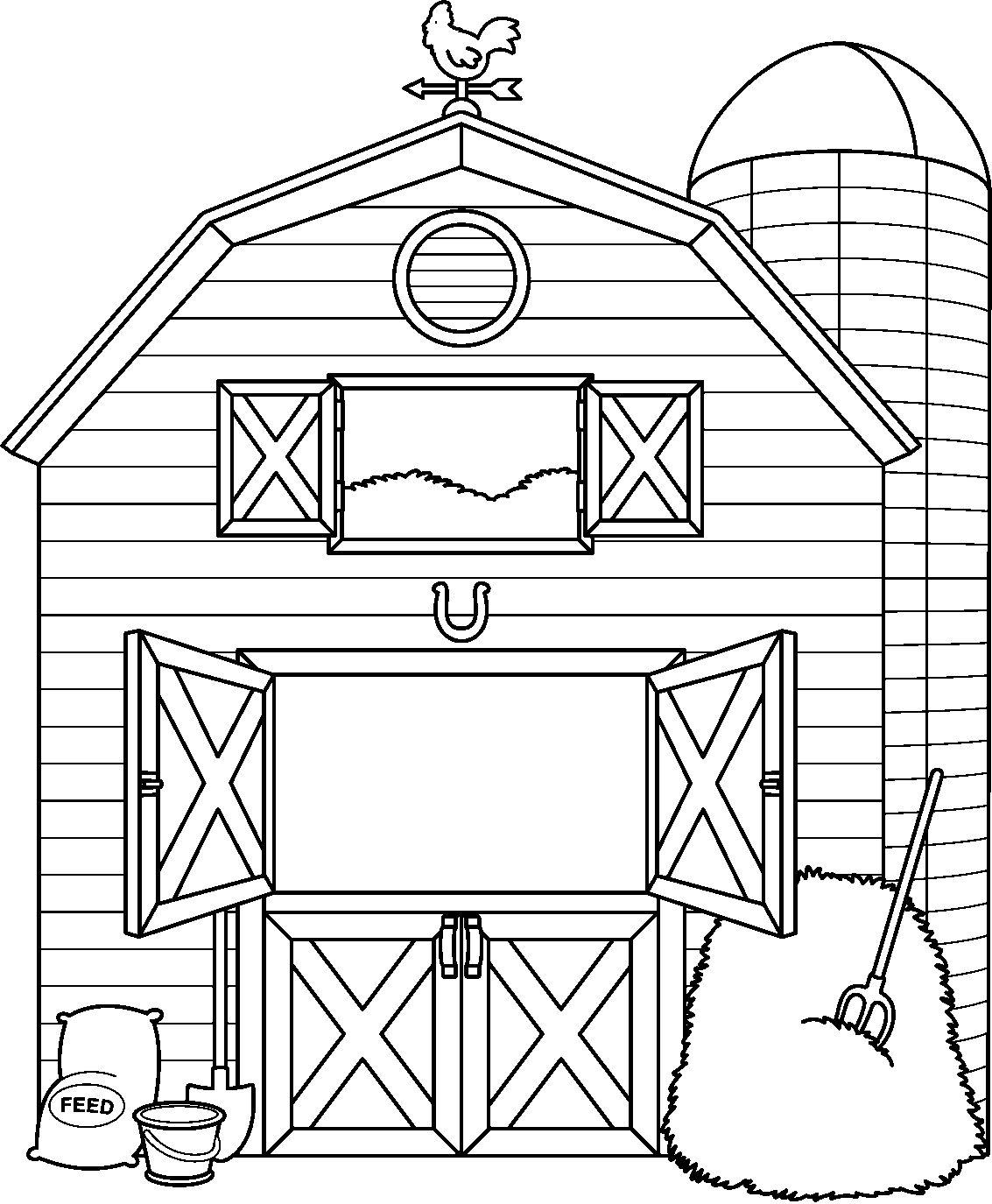 Farm Clipart Black And White : clipart, black, white, Clipart, Black, White, Coloring, Pages,, Animal, Quilt