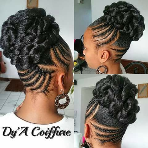 Chignon braids twists locs pinterest chignons braids and latest cornrow braids updo hairstyles for black women 2016 style pmusecretfo Images