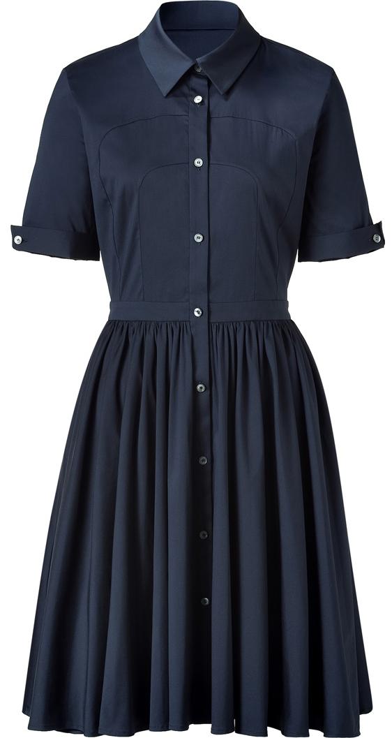 Navy Button-Through Shirt Dress