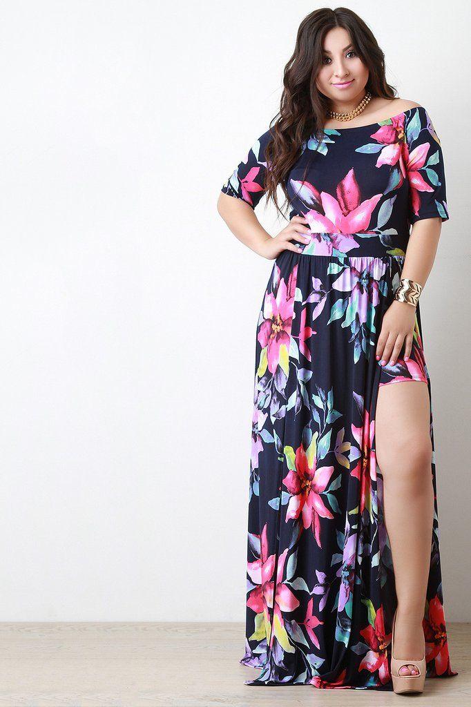 666b29b4f378 Off The Shoulder Double High Slit Floral Dress More. Off The Shoulder  Double High Slit Floral Dress More Trendy Dresses