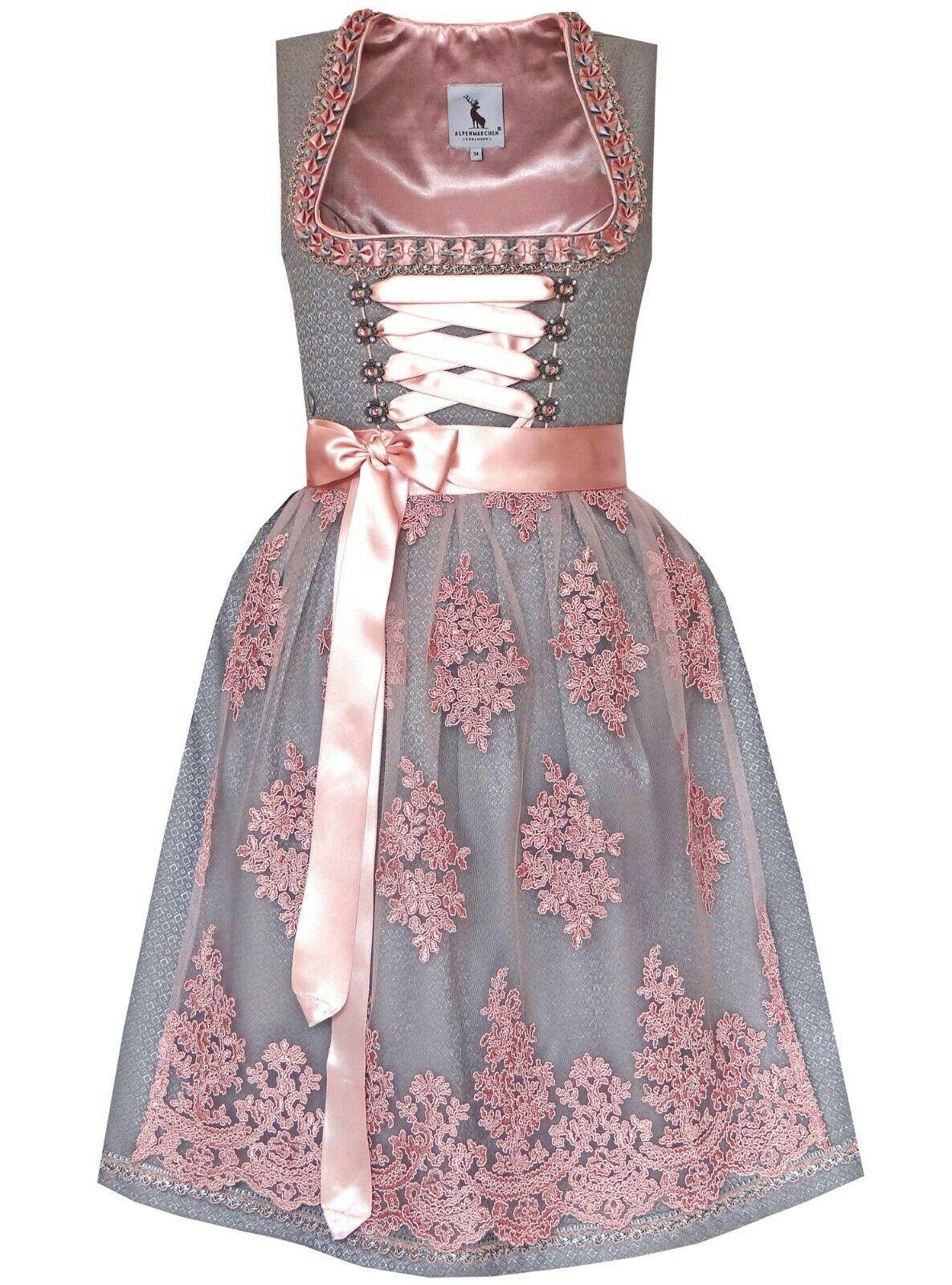 Details Zu Dirndl Midi Von Alpenmarchen Inkl Spitzenschurze Grau Rosa Edel Festlich Damen With Images Two Piece Skirt Set Dresses Fashion