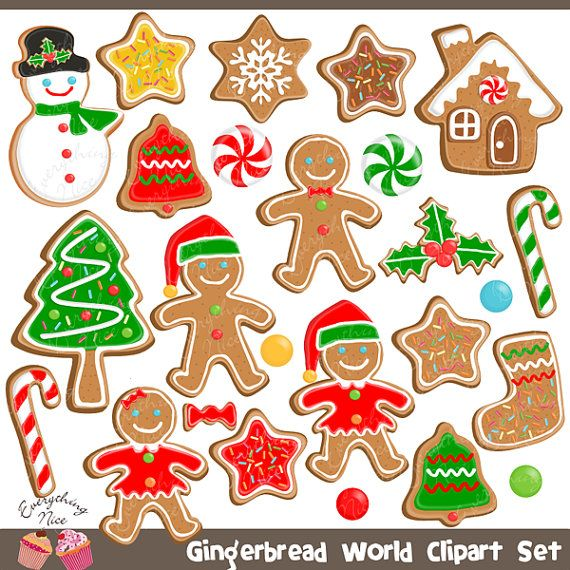 Gingerbread Man Gingerbread Word Christmas Cookies Clipart Set Etsy Christmas Drawing Christmas Graphics Cookie Clipart