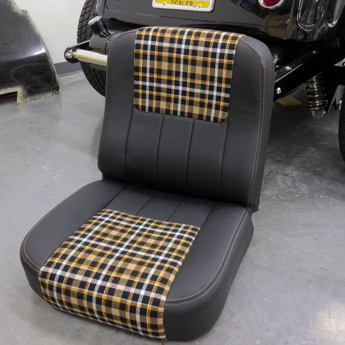 Chevy C10 Custom Stitched Bucket Seats In Leather And Plaid Automotive Upholstery Car Seat