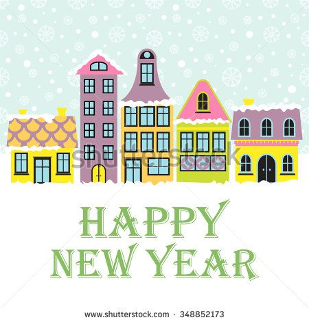new year card winter scene with an european city and snow beautiful houses covered with snow xmas concept made in vector seasonal architecture