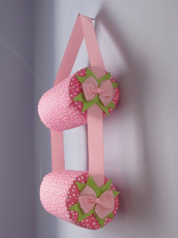 Headband Holder or head band organizer soft pink with white polkadots Handmade Double - 2 tiers