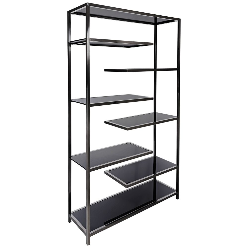 Vaughn Polished Black Glass 6 Shelf Modern Etagere