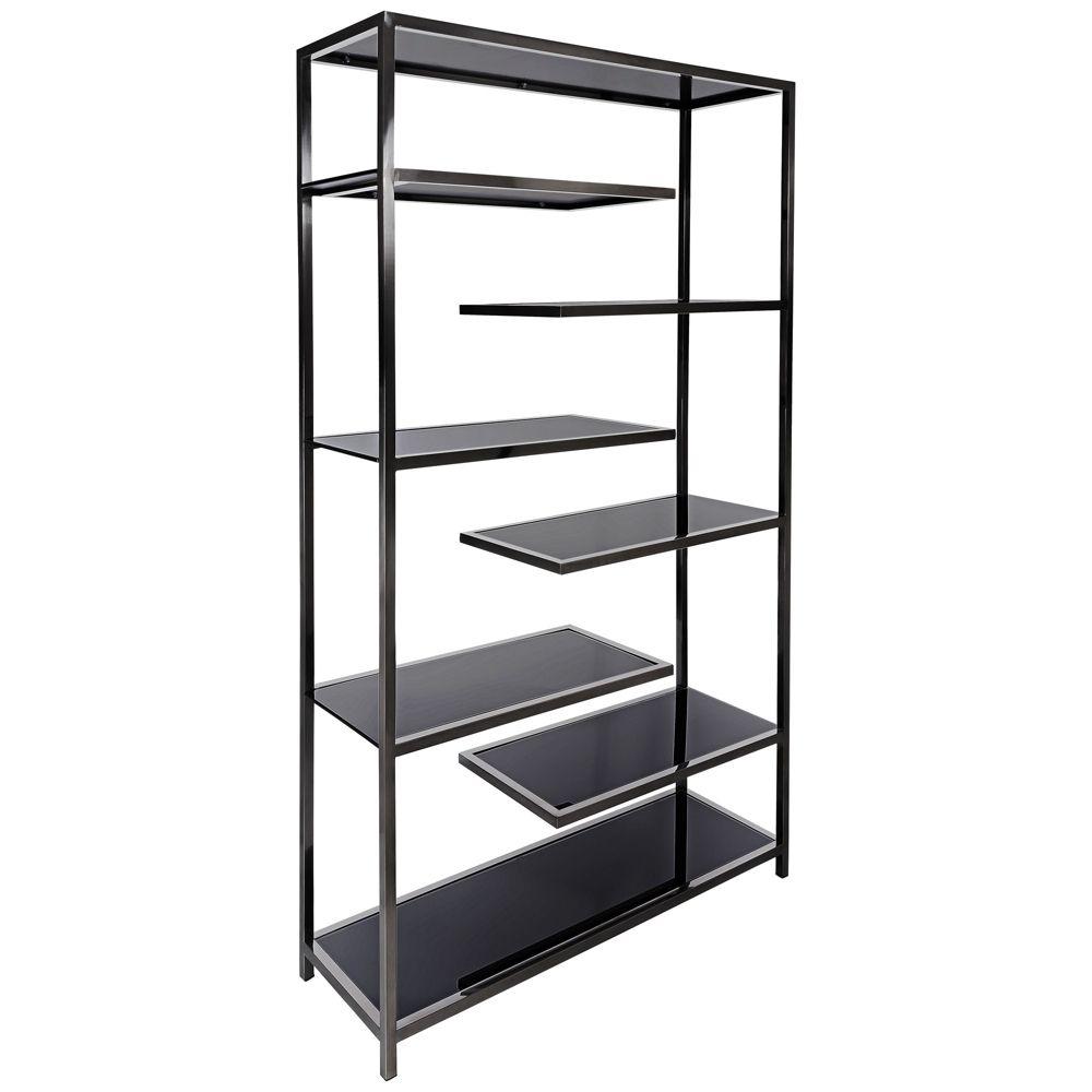 Vaughn Polished Black Glass 6 Shelf Modern Etagere Style 9f102