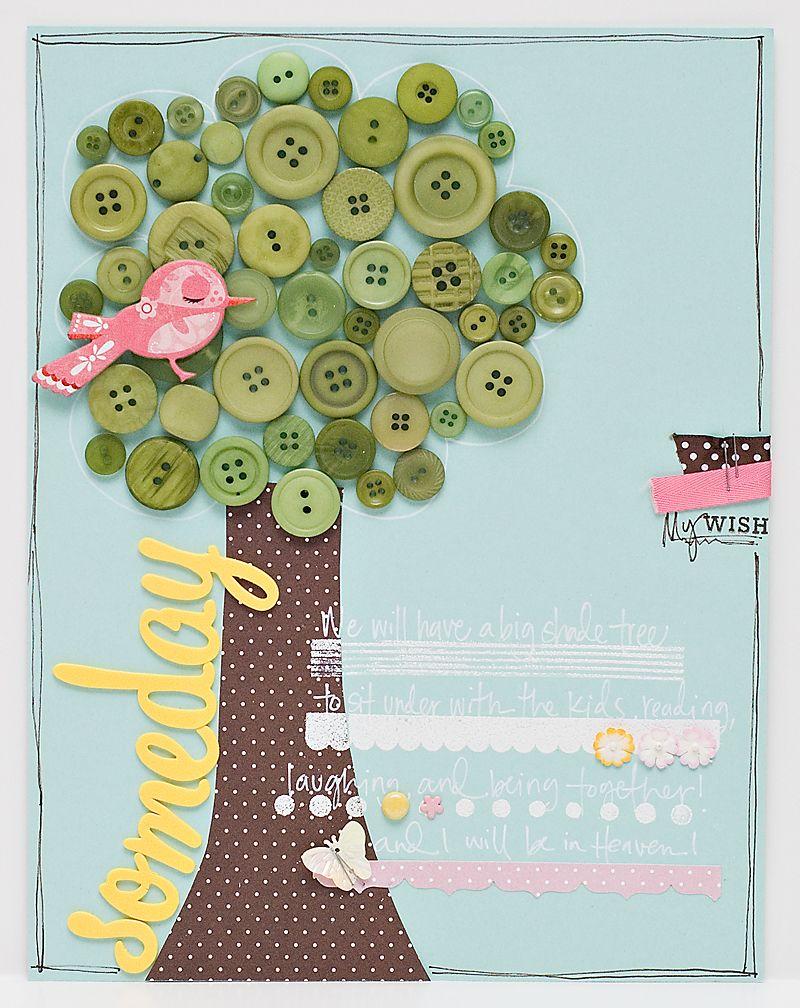 buttons - i like this idea.. med papir stamme og knap krone. Så bliver den ikke tung