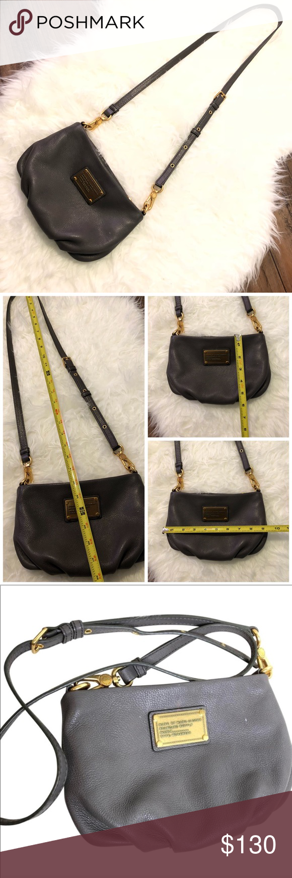 3241caed6e89 Authentic Marc Jacobs Sling bag Selling gently used Marc Jacobs bag in gray  with gold detail very gorgeous soft leather. Marc Jacobs Bags Crossbody Bags