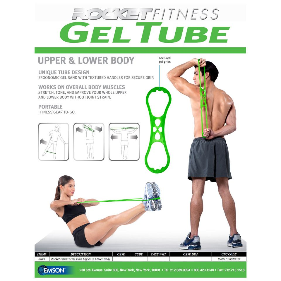 Rocket Fitness Rocket Fitness Gel Tube In Green Beyond The Rack Lower Body Muscles Lower Body Portable Fitness