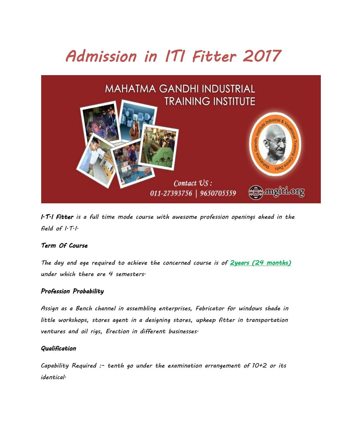 Admission in iti fitter 2017 Admissions, Certificate