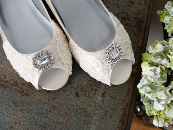 Delightful Size 8.5 Lace Wedding Shoes Wide Width Wedge By Beccaandlouise, $58.00