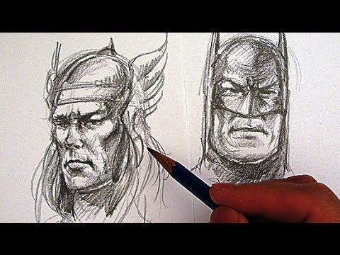 How to Draw Superhero Faces - Drawing Batman and Thor ...