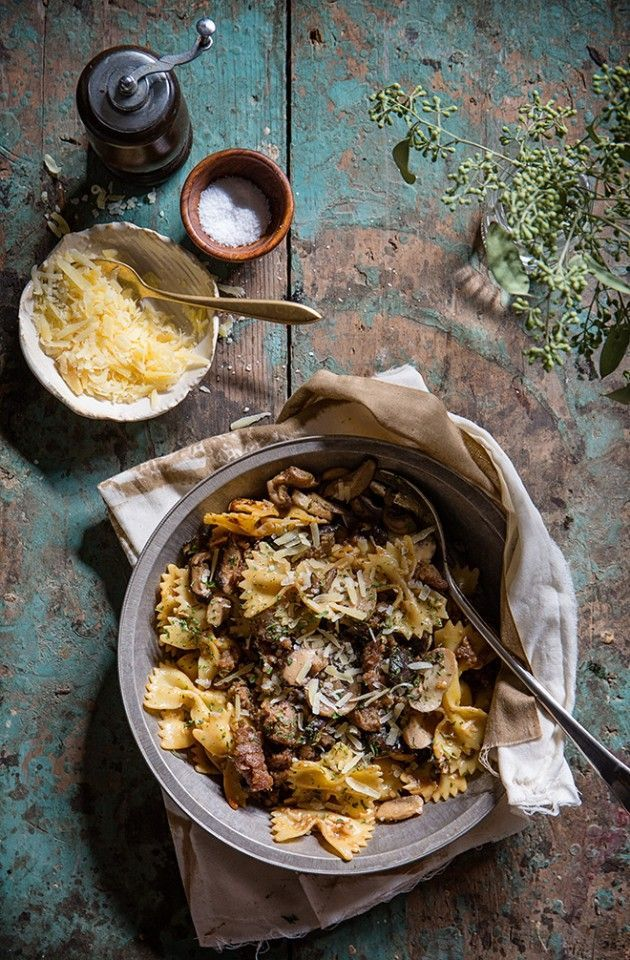 Sausage and Mushroom Pasta with Baker Royale