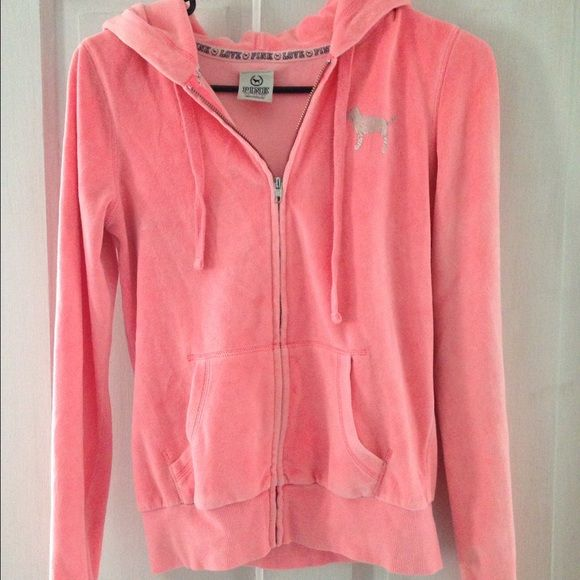 PINK zip up gently worn! PINK zip up! bright pink with silver lettering! PINK Victoria's Secret Jackets & Coats