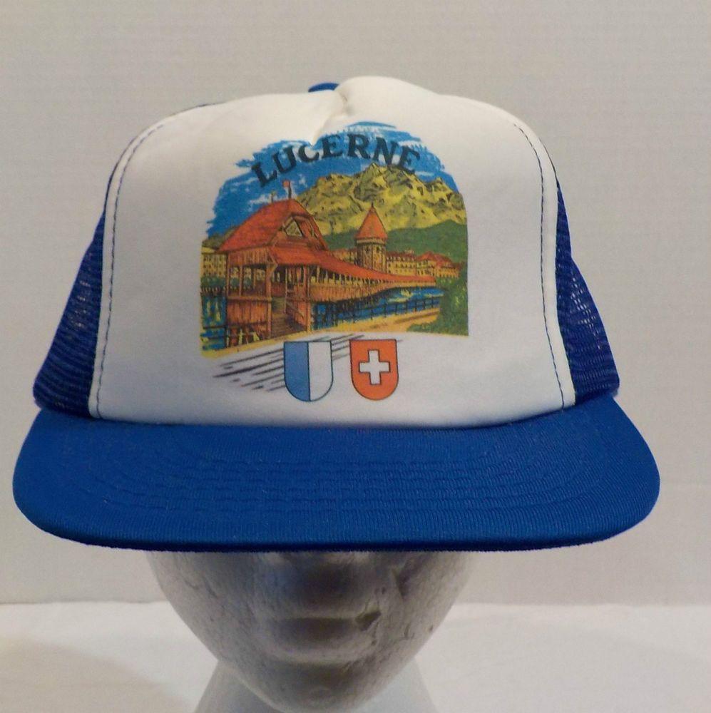 Vintage Lucerne Switzerland Baseball Truckers Hat Cap #Unbranded #BaseballCap
