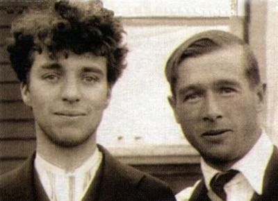 Charlie Chaplin with Rollie Totheroh, the camera man who worked with him for 35 years, c.1918