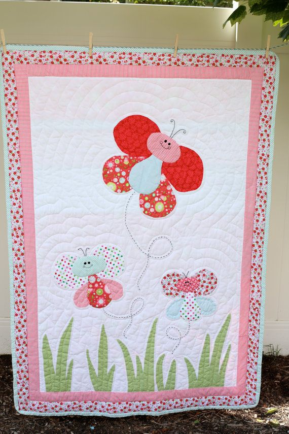 Hand Quilted Butterfly Baby Quilt Quits Crafts Baby