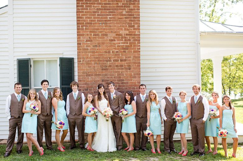 Brown And Teal Wedding Ideas: The Brown Suits, The Teal Dresses!!! I Especially Like How