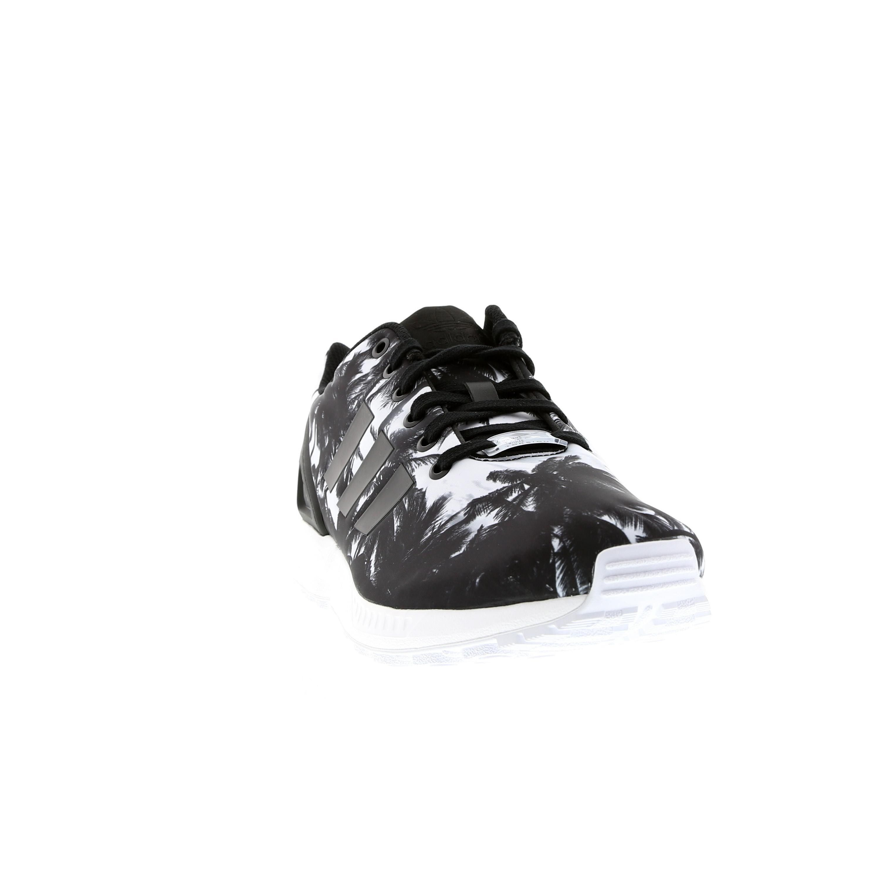 fdc9cb3698c6e Mens Adidas ZX Flux Beach Print Palm Trees Casual Shoes Black Black White  AF5306