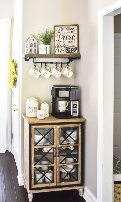 Farmhouse Coffee Bar with DIY floating shelf and mug rack