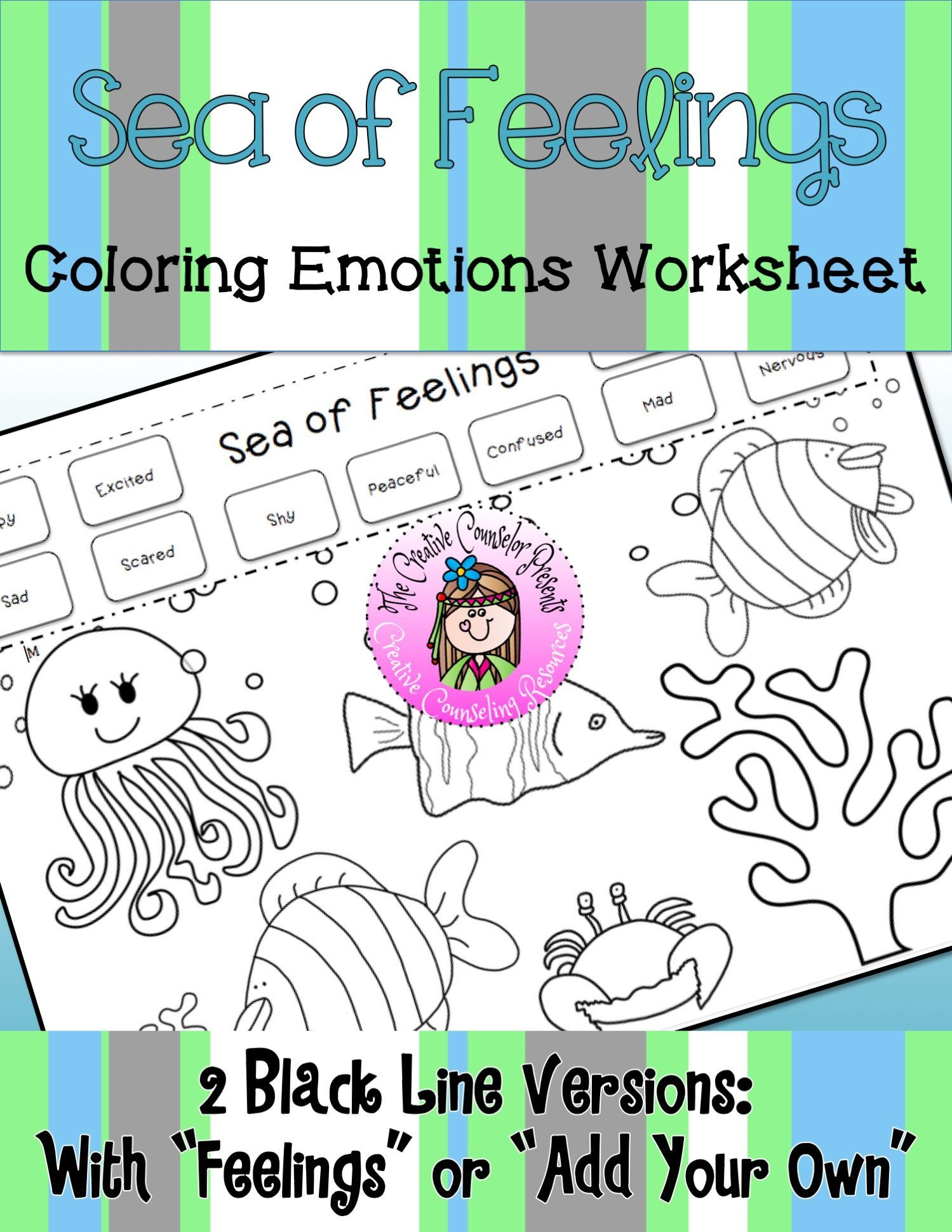 Sea Of Feelings Coloring Emotions Worksheet In