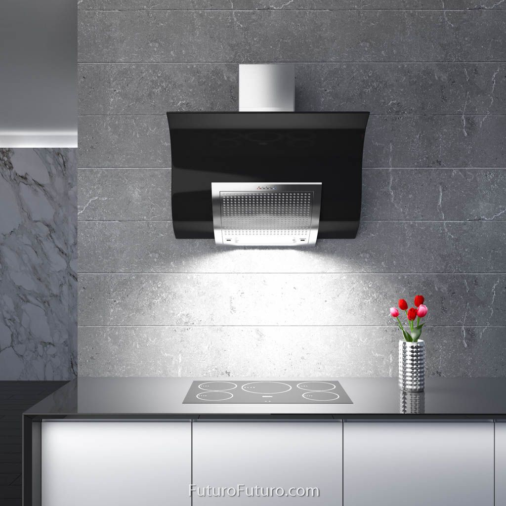 Steel and glass blend smoothly in this range hood with a
