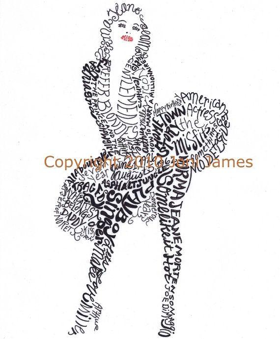 Marilyn Monroe Art Typography Word Art Drawing By Calligramorama
