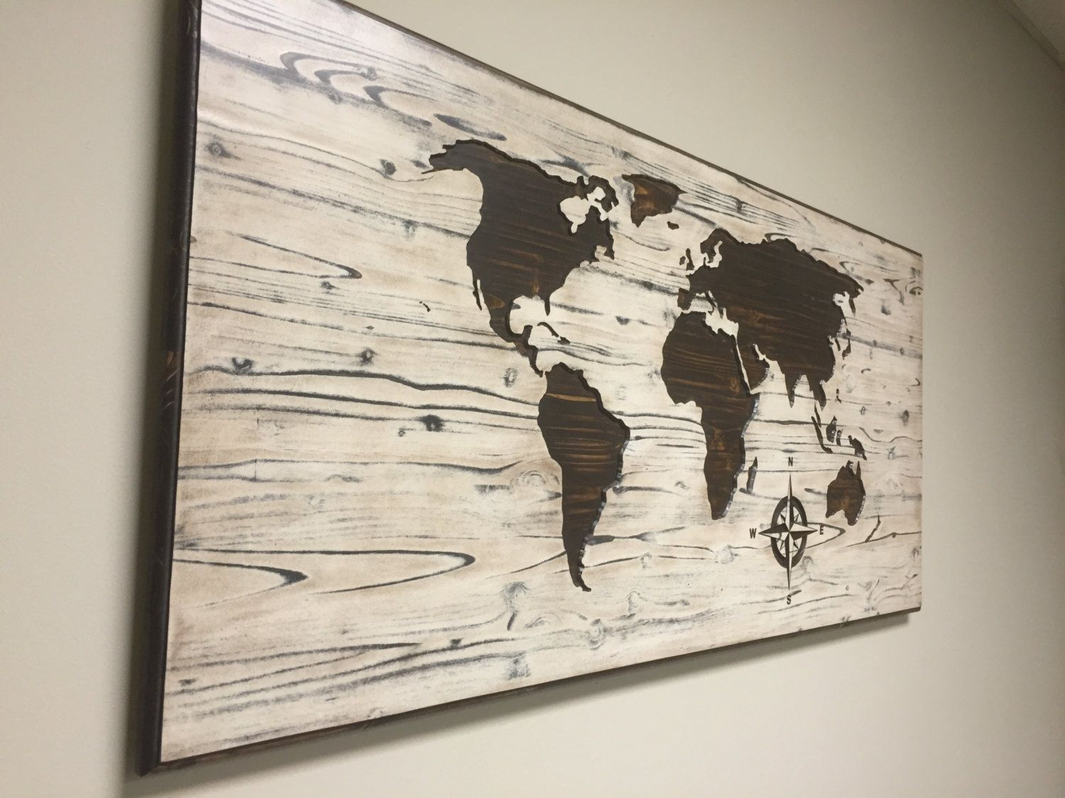 Barn wood style map solid wood not true reclaimed barn wood carved world map wall art wooden world map wood decal world map poster gumiabroncs Choice Image