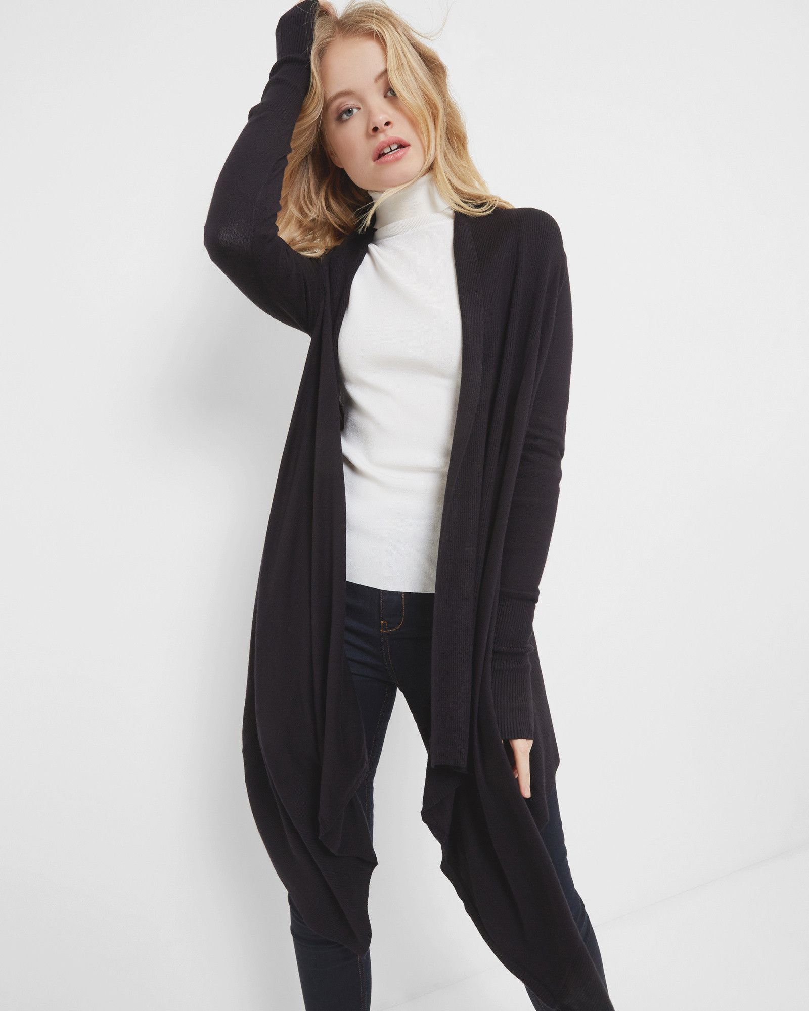 Fine knit waterfall cardigan - Black | Knitwear | Ted Baker UK ...