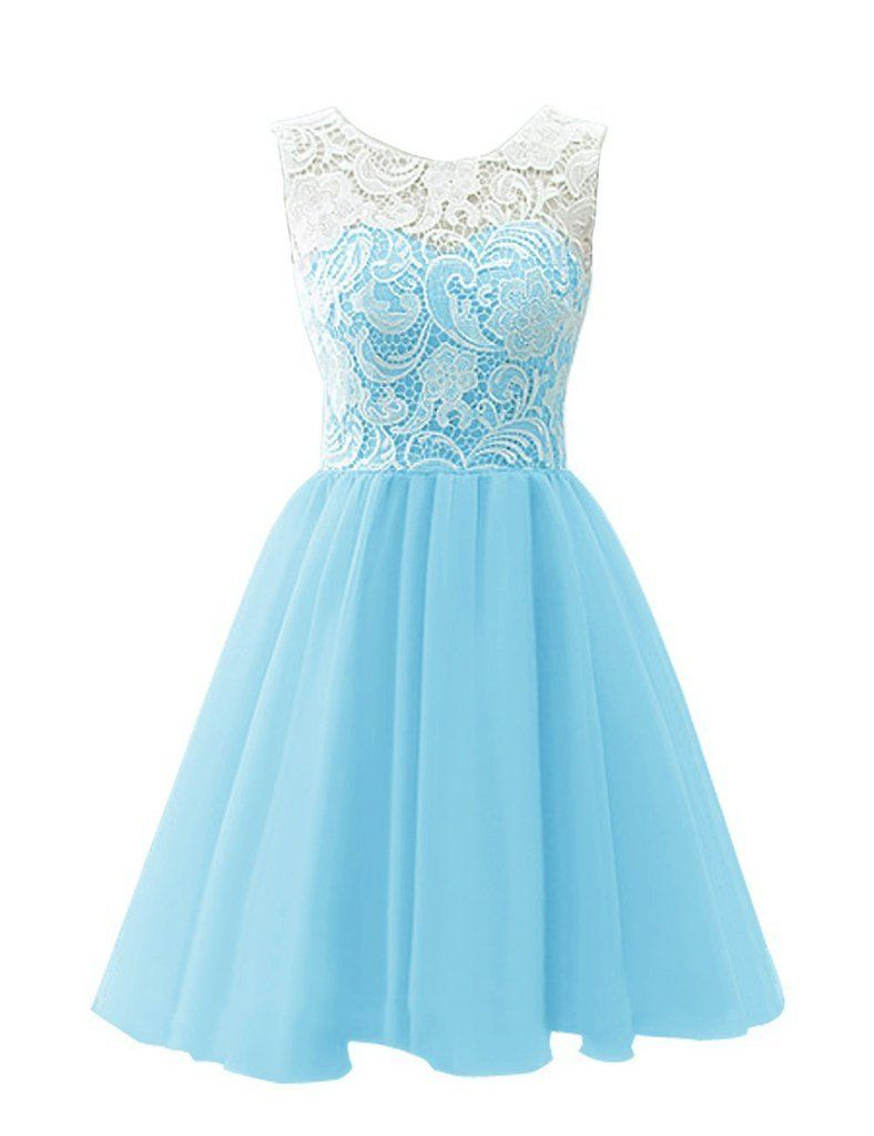 RohmBridal Women's Short Lace Chiffon Prom Homecoming Dress Light Blue Size 16