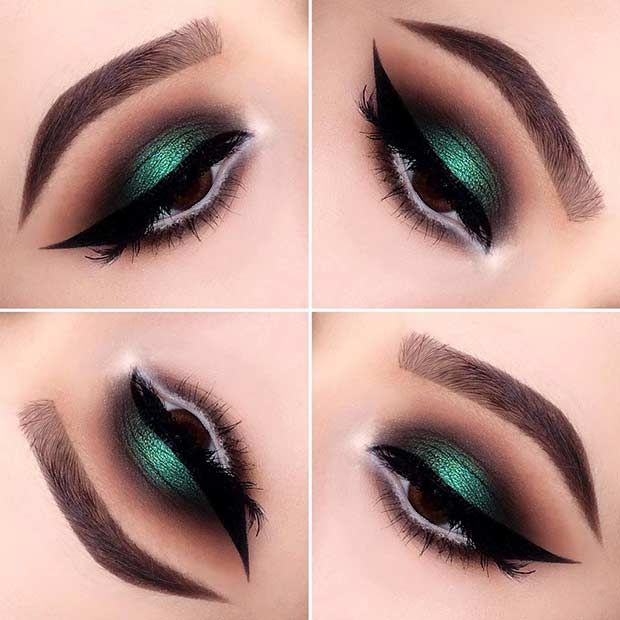 Emerald And Brown Smokey Eye Look For Eyes Christmas Makeup Natural