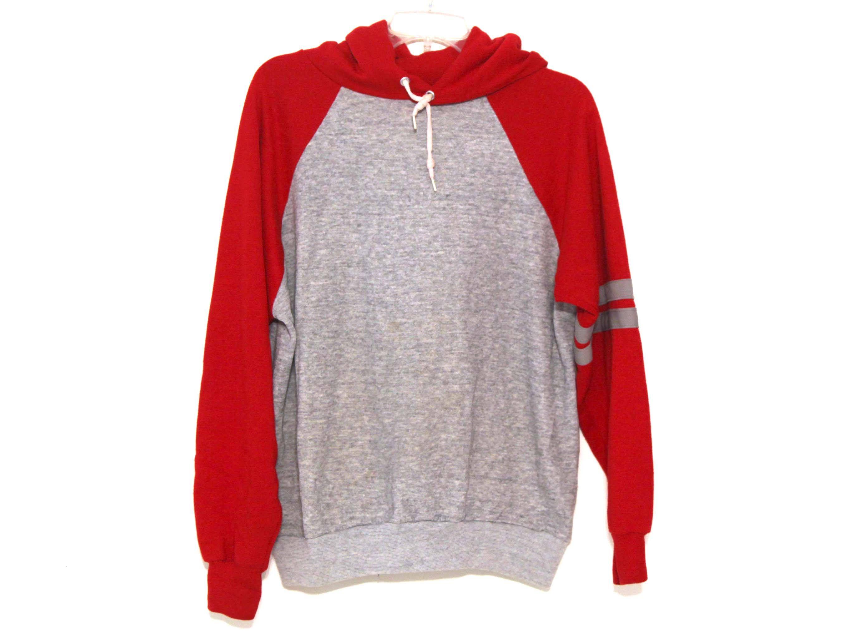 Vintage 80s Hoodie Sweatshirt Heather Gray Red Striped Raglan Acrylic By 216vintagemodern On Etsy Hoodies Raglan Hoodie Clothes