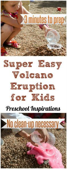 If you need a super simple volcano recipe, it doesn't get much easier than this. Prep is about 3 minutes, and there is no clean up necessary. Easy Baking Soda and Vinegar Volcano Eruption for Kids by Preschool Inspirations
