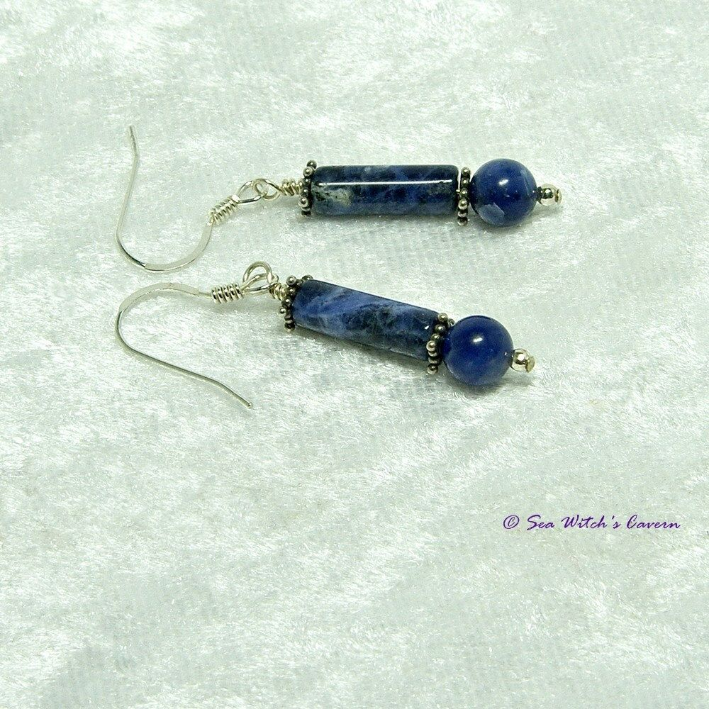 Sodalite Earrings With Bali Sterling Silver Star Beads Throat Chakra Gemstone Free Uk Postage By Seawitchscavern On Etsy