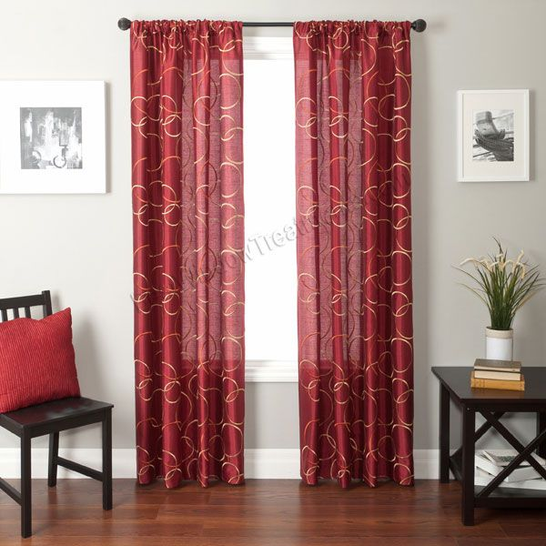 Strada Sphere In Merlot Red Curtains With Geometric Circle