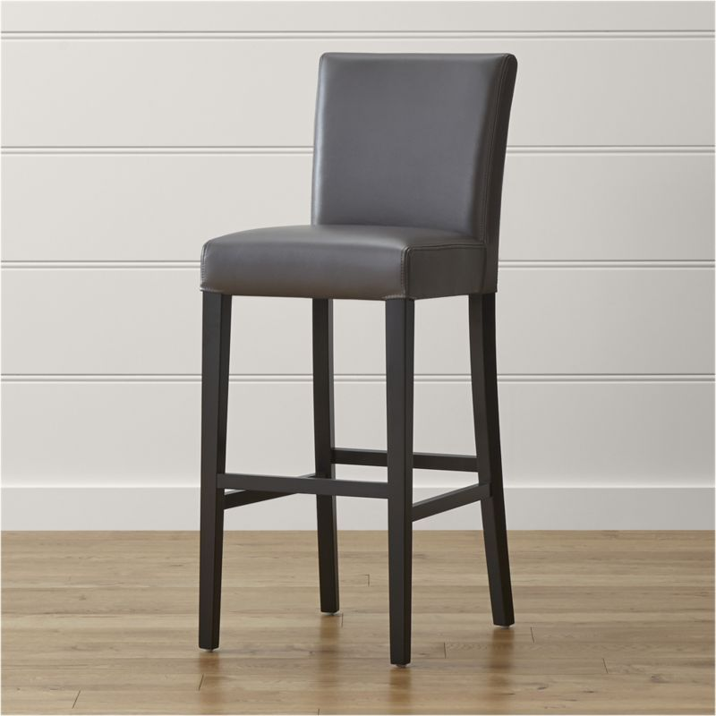 Shop Lowe Smoke Leather Bar Stool Upholstered In A Dusky