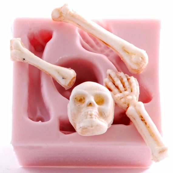 Skeleton Silicone Mold Skull /& Bones Flexible Mould Food Safe or Craft 517