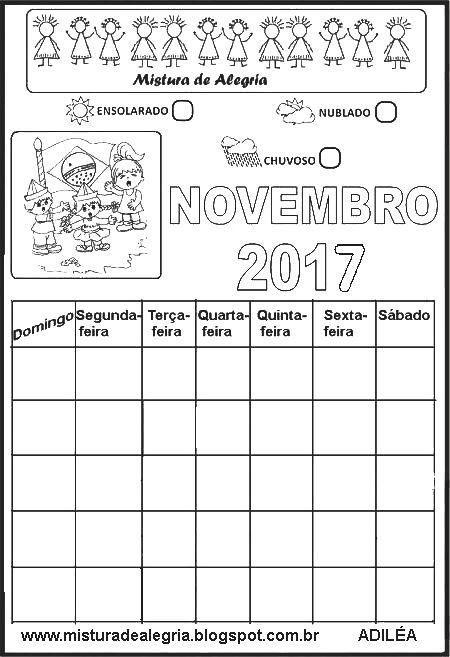 CALENDÁRIOS DE 2017 PARA IMPRIMIR, COMPLETAR E COLORIR-Mistura de ...