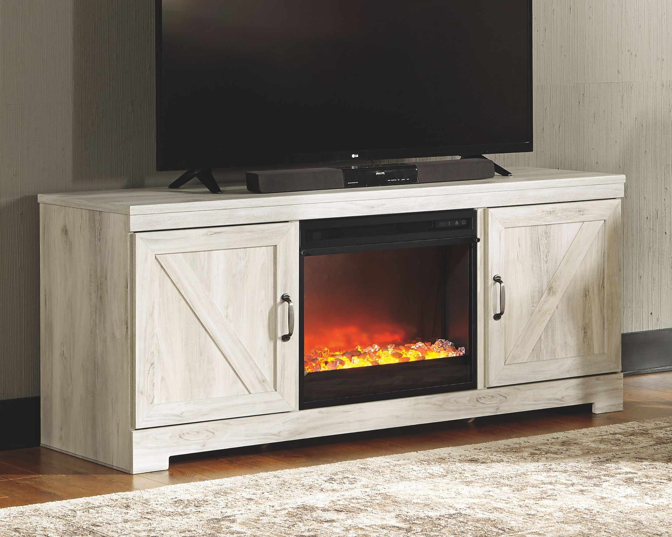 Bellaby 63 Tv Stand With Fireplace Whitewash Fireplace Tv