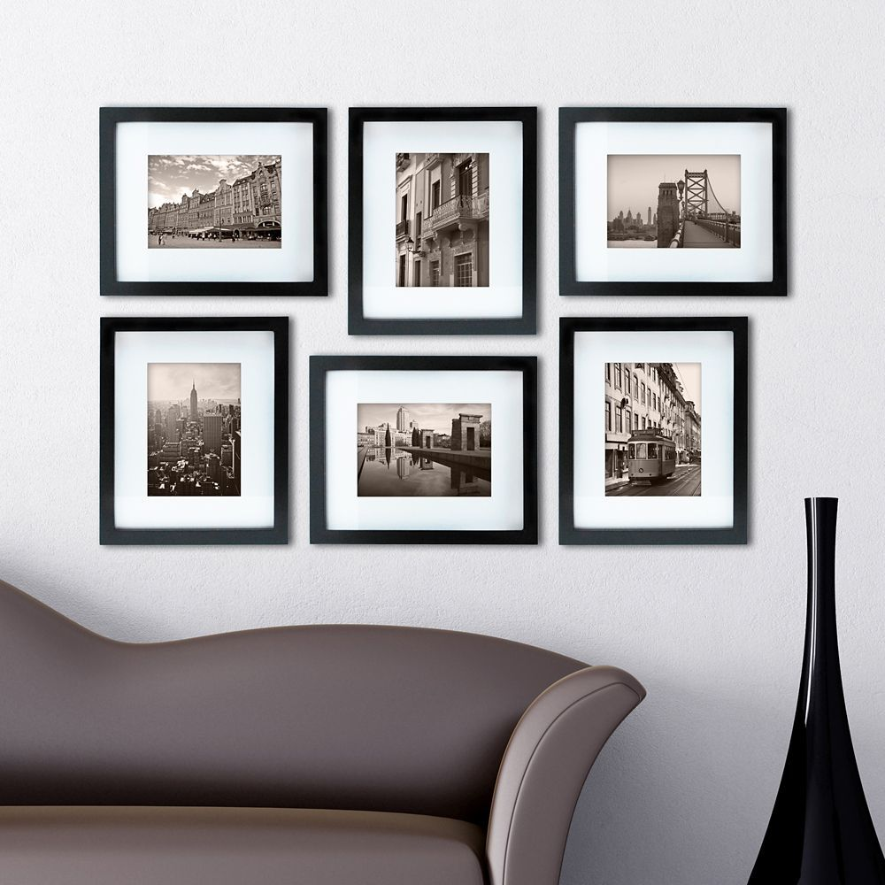 Gallery Pack Of 6 8x10 Inch Matted To 5x7 Inch Frame Black