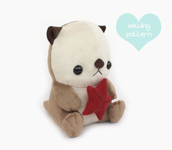 PDF sewing pattern - Sea otter plush stuffed animal tutorial with ...