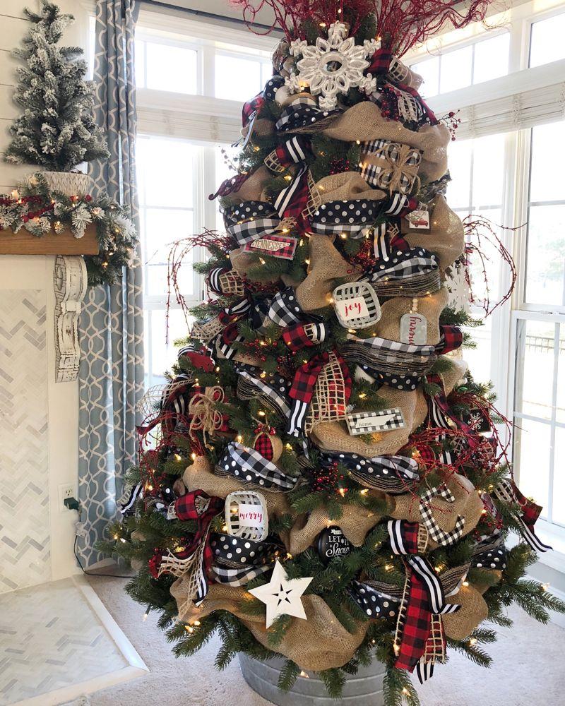 Buffalo Check Christmas Tree with ribbon- 2018 | W