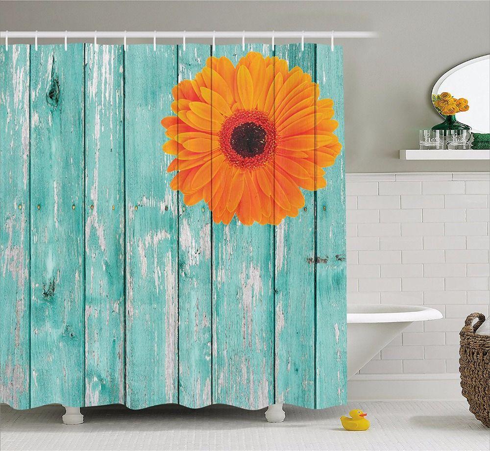 High Quality Arts Shower Curtains Blue Wood Orange Flower Chrysanthemum Bathroom Decorative Modern Waterproof