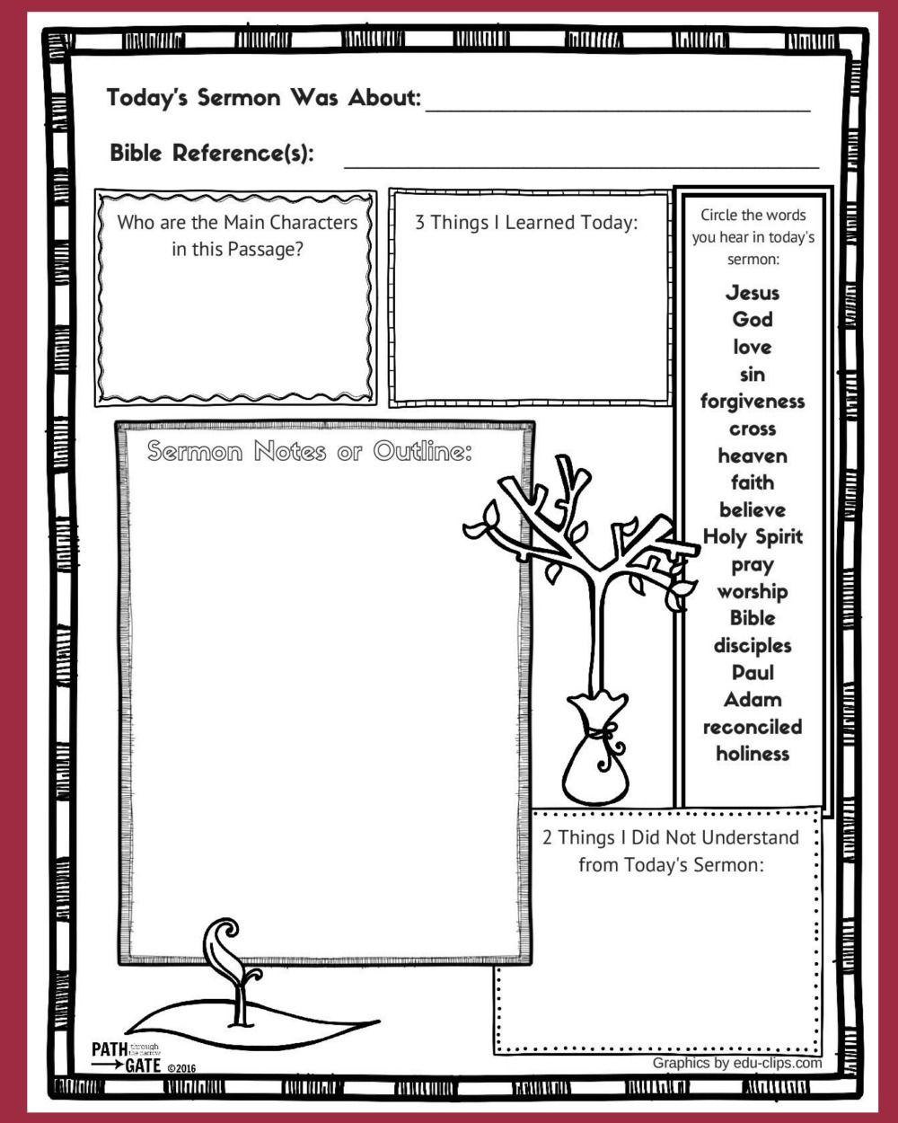 Printable Sermon Notes Sheet Sermon Notes Sermon Childrens Sermons