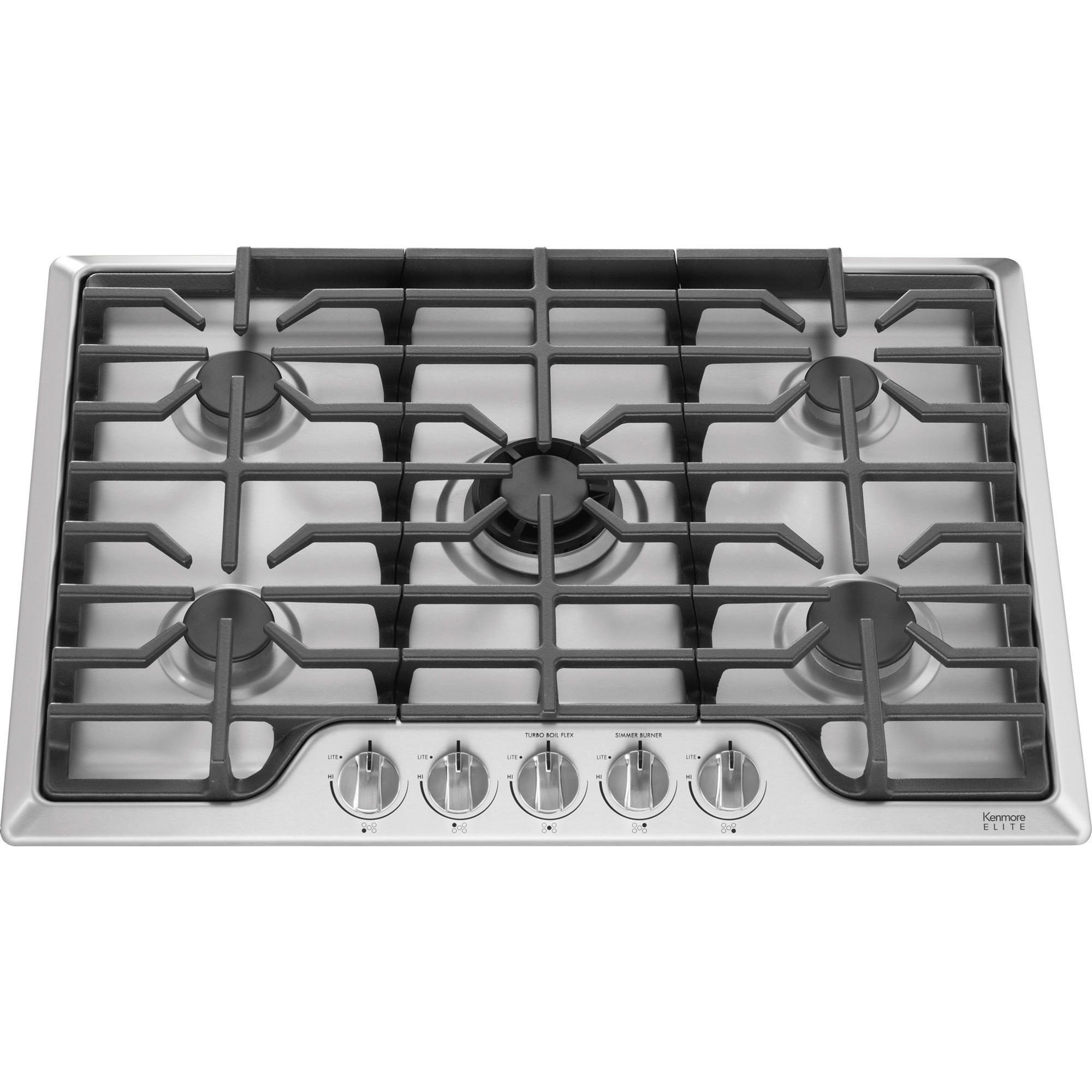 The Kenmore Elite Gas Cooktop Features Five Versatile Burner Options Including A Flexible Btu Center B