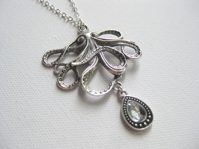 Ocean Octopus Necklace - Free Shipping- Antique Silver Tone Octopus - Crystal Drop Pendant - Ocean Beach Nautical $36.00