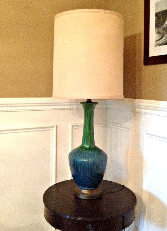 Large Teal MID CENTURY Modern Table Lamp RETRO Vase Urn Style Home