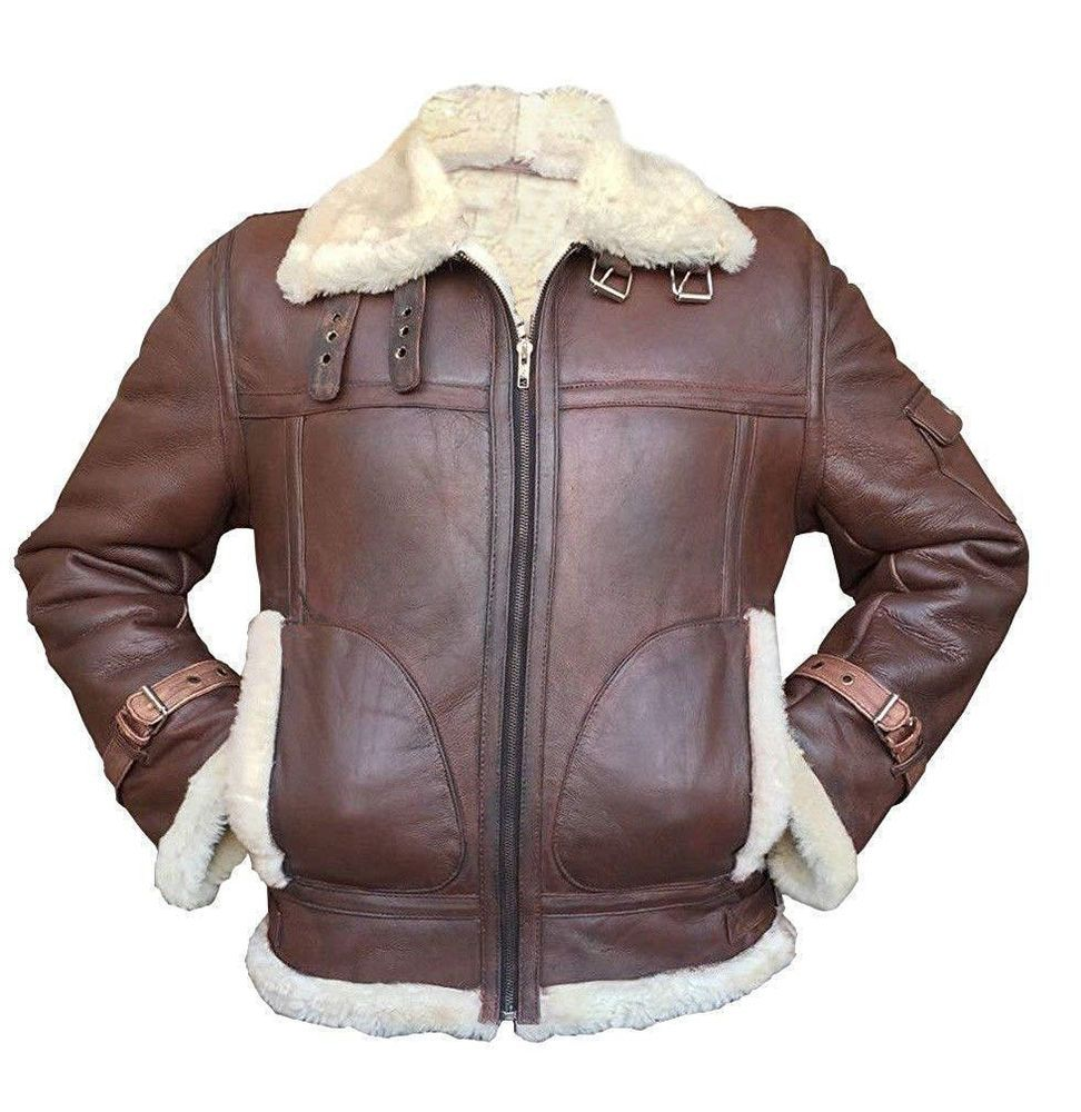 6b8124401a5625 Men s Aviator RAF B3 Sheepskin Fur Shearling Leather Bomber Flying Jacket   fashion  clothing  shoes  accessories  mensclothing  coatsjackets (ebay  link)